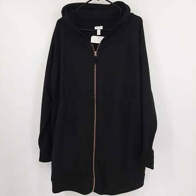 Ingrid & Isabel Womens Maternity Hooded Jacket Black Zip Up Stretch XXL New