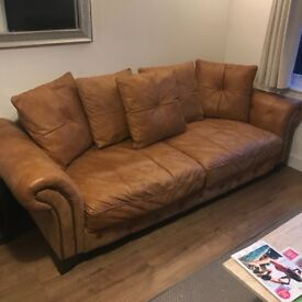 3 Seat Leather Sofa, Light Brown (Tan) For Sale