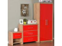 New high gloss RED bedroom set, 2xbedsides 1x chest 1xwardrobe LAST SET ONLY £179