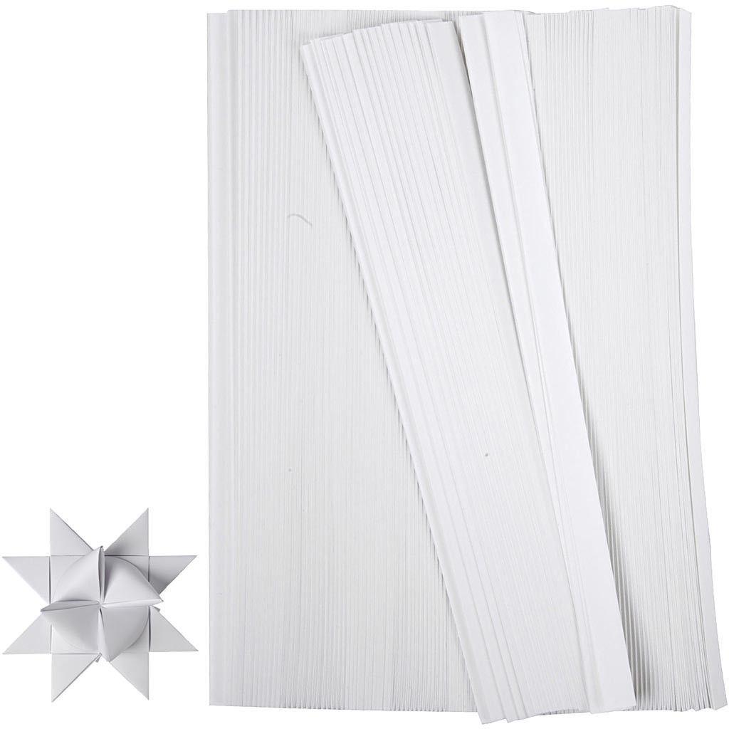500 Papierstreifen für Fröbelsterne, Weiß, 15 mm x 45 cm zum Falten von Sternen