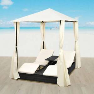 Double Sun Lounger with Curtains Poly Rattan Black YNOOR-42891