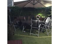 Garden - Six Chairs / Table / Brolly. Used but good condition