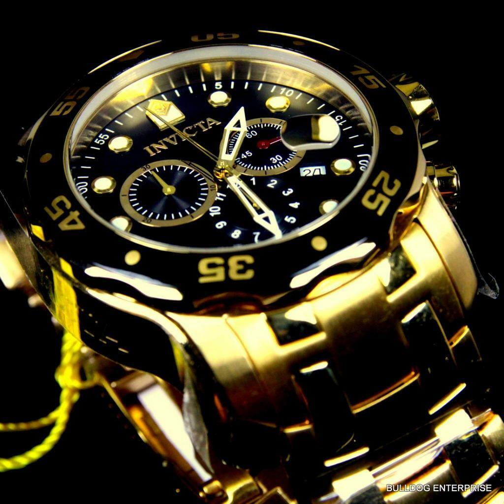 invicta mens watch rose gold mens invicta pro diver s gold plated black chronograph swiss parts watch new