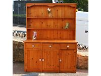 Large Pine Welsh Dresser With Blue Pattern Knobs
