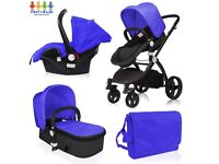 Baby Boys Girls Grey, Black or Red New Pushchair Travel System Car Seat & Carry Cot 3 in 1 Set