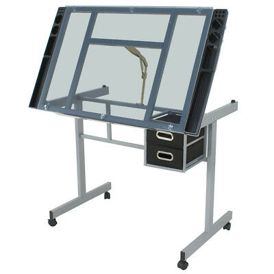 Home Drawing Desk Station Tempered Glass Adjustable Drafting Table W/ 4 (Station Drafting Table)