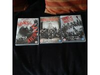 Sons of Anarchy Three Box sets Series 3,,4,,5,,on 12 Discs great Condition..