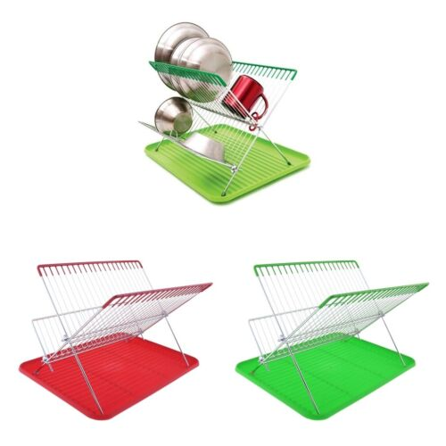 2 Tiers Dish Drying Drainer Rack Sink Rack Kitchen Plate Bow