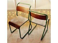 Chairs - x2 1950s vintage tubular steel & plywood