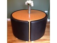 Round Oak Table with 4 Brown Leather Chairs