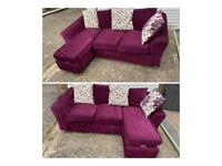 Lovely purple corner sofa can be used left or right hand side
