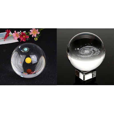 CLEAR SOLAR SYSTEM GALAXY GLASS CRYSTAL BALL SCIENCE ASTRONOMY TOY XMAS GIFT