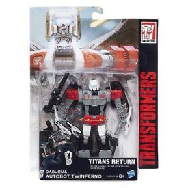 Transformers Generations Titans Return Auto Bot Twinferno and Daburu Figure