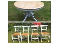 Hand Painted Beech Circular Kitchen Table and four chairs