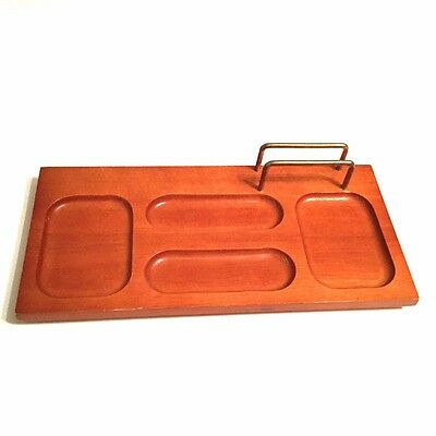 Vintage Desk Organizer Wood Brass Letter Holder Wooden Tray Clips Coins