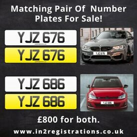 YJZ 676 & YJZ 686 Matching pair of NI number plates -Cherished Personal Private Registration plate