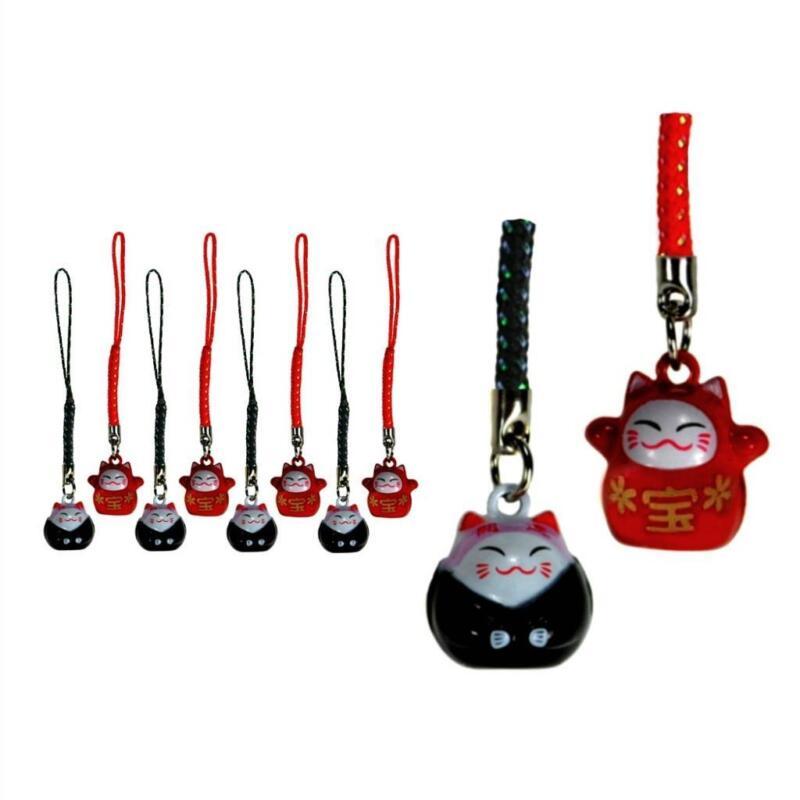 LOT OF 10 LUCKY CAT BELL CHARM Red Black Maneki Neko Mobile Cell Phone Strap NEW