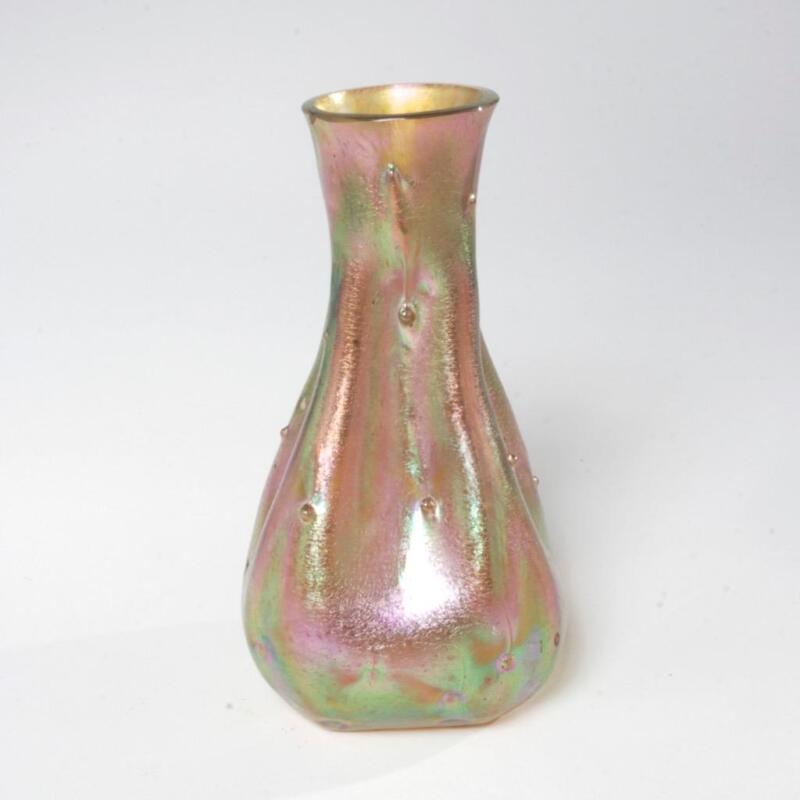ANTIQUE ART NOUVEAU IRIDESCENT GLASS VASE-MANNER OF LOETZ