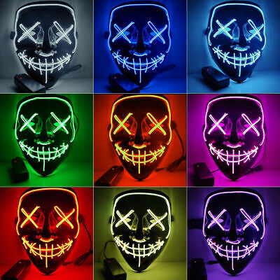 The Purge Halloween (Halloween LED Glow Mask 3 Modes EL Wire Light Up The Purge Movie Costume)