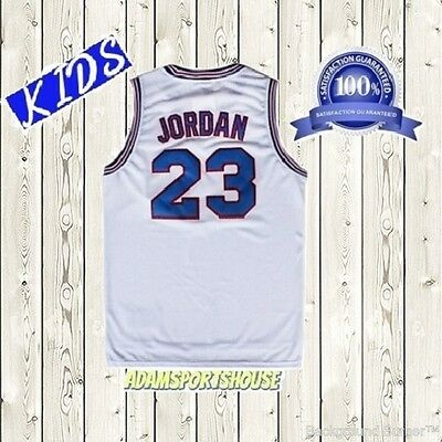 Michael Jordan Looney Toones Jersey Basketball KIDS White Space Jam Stitched New Childs Basketball Jersey