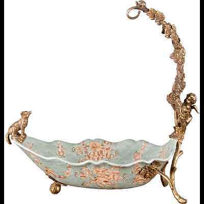 NEW ANBERTONIA PORCELAIN centerpiece bowl with bronze cherub dog and grapes