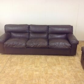 3 1 1 BROWN LEATHER SOFA
