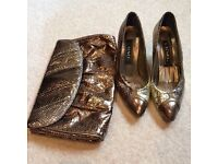 Vintage snakeskin shoes and matching bag