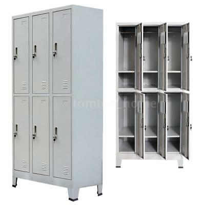 Locker Cabinet Steel 6 Compartment Office School Gym Employee-lockers Metal G1n1