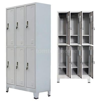 Locker Cabinet Steel 6 Compartment Office School Gym Employee-lockers Metal Us