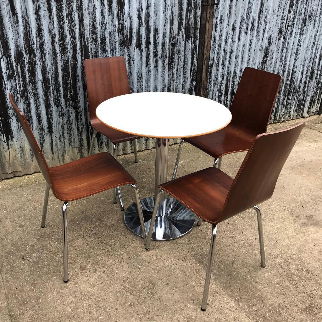 Cafe Bistro Round Table Four Bentwood Dining Chairs In Holbeach