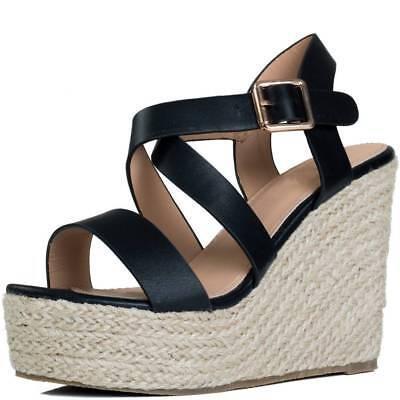 Womens Adjustable Buckle Platform Wedge Heel Espadrille Sandals Shoes Espadrille Platform Wedges