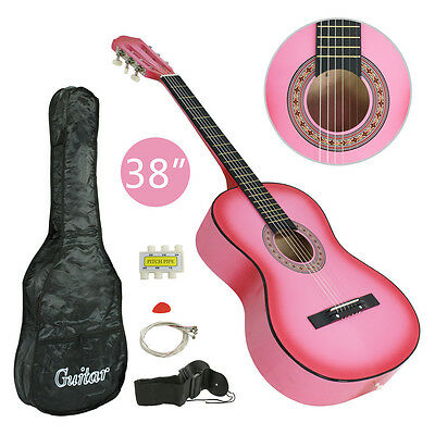"""Acoustic Guitar 38"""" Full Size Adult Pink Includes Guitar Pick & Accessories"""