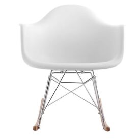 Charles Eames inspired white plastic lounge rocking chair