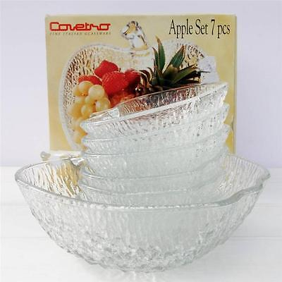 Vintage Retro Fruit Salad Dishes Set Italian Apple Glass