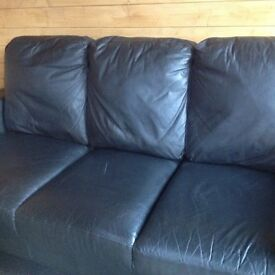 Leather sofa, black