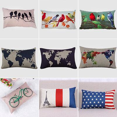 Rectangular Cotton Linen Cushion Cover Throw Waist Pillow Case Home Bedroom Sofa