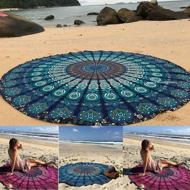 Big Hippie Mandala Beach Throw Towel Round Boho Mat Tapestry Wall Hanging Decor