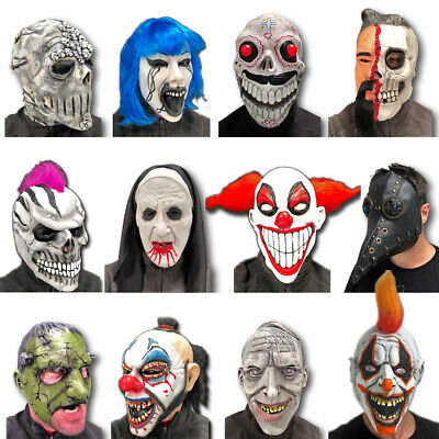 Clown Zombie Halloween (Erwachsen Herren Halloween Latex Maske Zombie Clown Schädel Horror Unheimlich)