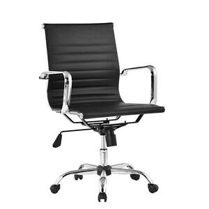 Ergonomic Modern Design Leather Charles Eames Style Ribbed Office Chair Low Back