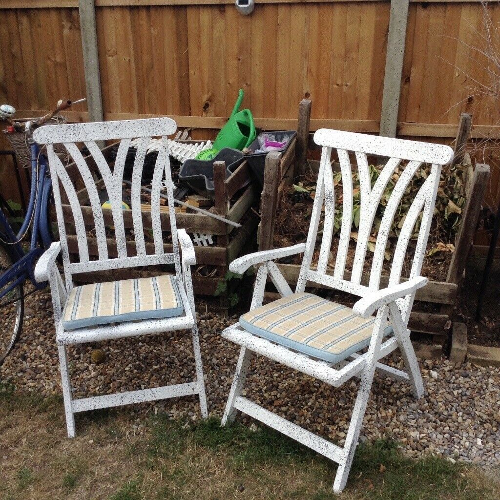 2 solid reclining wood garden chairs with seat cushions ipswich