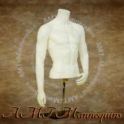 Ymt3-bw Male Torso Metal Base Stand White Plastic Display Dressform