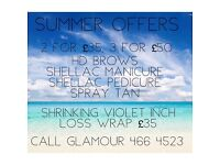 Summer beauty offers - HD Brows, shellac, tans, shrinking violet body wraps
