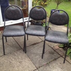 Grey metal dining chairs