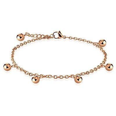 "Stainless Steel 9""-10"" Rose Gold Multi-Bead Ankle Bracelet Anklet"