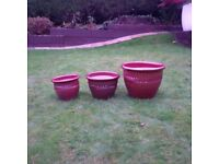 Matching Planters, 3 available, good condition, high quality with gloss finish