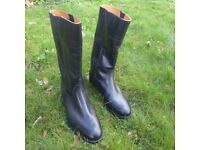 Wellington Military Mess Boots. Long Black Boots, Leather, Gents, size 7.5. By Shipton and Heneage.