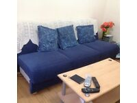 Sofa bed blue colour good base for storage