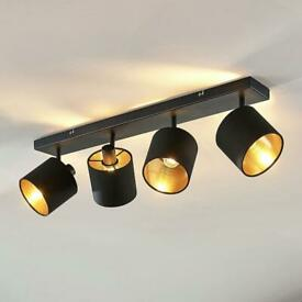 Black and gold 4-bulb ceiling light