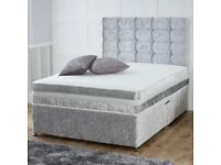 "SPECIAL OFFER ____ BRAND NEW CRUSH VELVET DOUBLE DIVAN BED WITH 9"" SEMI ORTHOPEDIC MATTRESS"