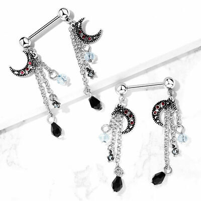 Pair CZ & Beads Antique Silver Moon Dangles Surgical Steel Nipple Barbell Rings